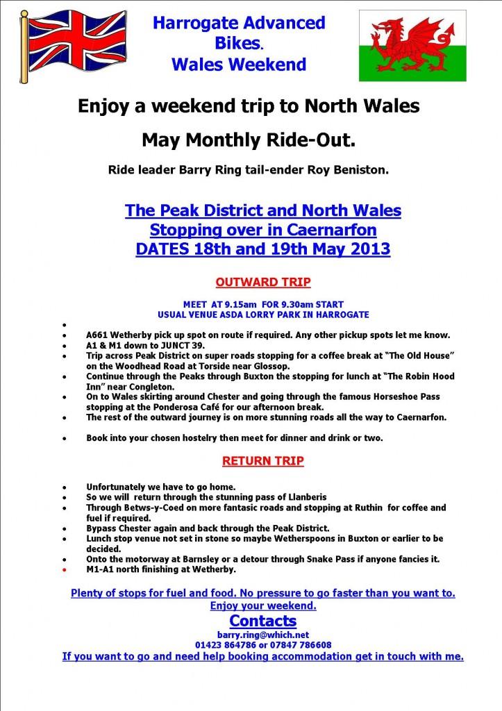WALES MAY 2013 HAB WEEKEND TRIP ITINERARY